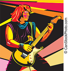 pop art guitarist - play guitar, electric guitar, rock and...