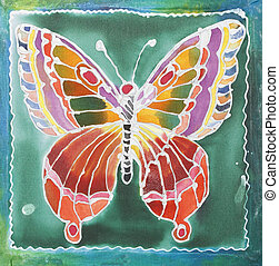 Batik design - Butterfly pattern paint on a batik design...