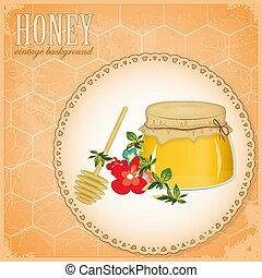honey and flowers on old paper - Vintage Postcard - Honey...