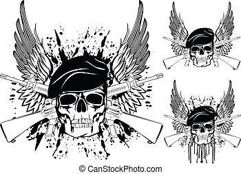 skull in beret - The vector image of skull in beret with the...