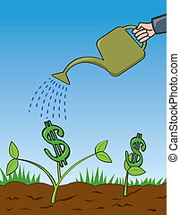 Grow Your Money - A cartoon depiction of a business person...