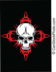 Skull with pattern - Vector illustration skull with pattern