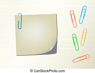 Vector page notepad and paper clips