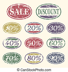 Vintage sale icons set. Discount from 10 to 90 percent.