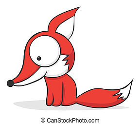 Big-eyed fox - Cute and funny cartoon fox with huge eyes