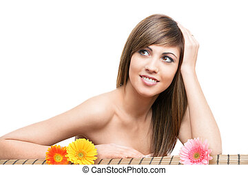 Beauti female face with flowers. - Close up Beauty portrait...