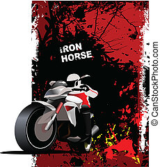 Natural background with motorcycle image. Iron horse. Vector...