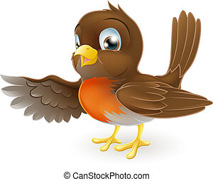 Robin Pointing Illustration - A sweet little Robin standing...