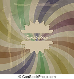 vector retro invitation on abstract background with grungy blots, old paper texture