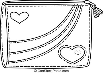 Purse with valentine hearts, contours