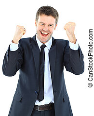 Portrait of a energetic young businessman enjoying success...