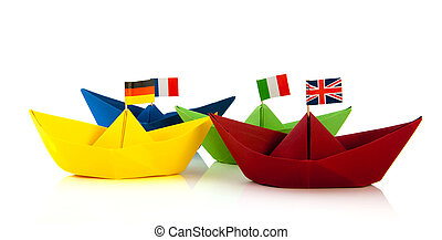 colorful paper boatwith European flags