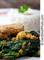 espinaca,  murgh, indio, plato,  palak, pollo
