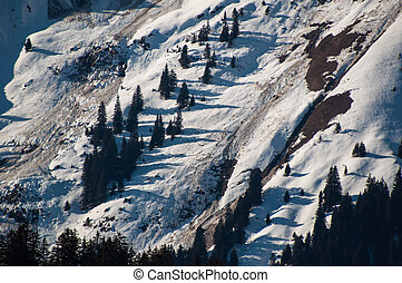 Landslide and avalanches in skiing mountains in early spring...
