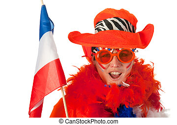 Dutch woman with flag as soccer fan - Dutch woman dressed in...