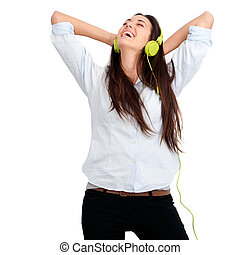 Girl feeling happy with music - Young woman feeling happy...