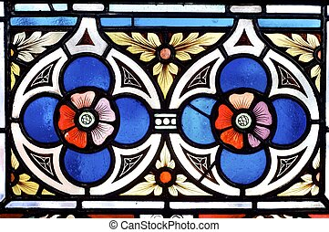 stained glass with two red flowers in Prague
