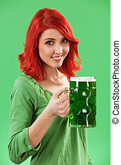 Redhead drinking green beer - Photo of a beautiful redhead...