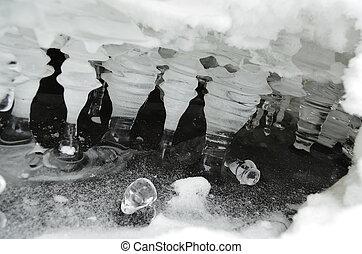 el, hielo, -, agua, sólido, estado