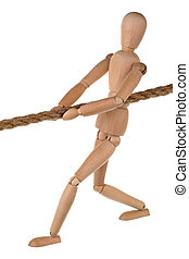 Tug-of-war - One dummy pulls on a rope on white background