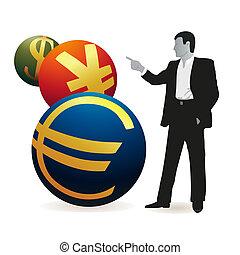 Businessman looking at three symbols of Yuan, Euro and US...