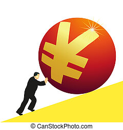 Businessman pushing Yuan symbol