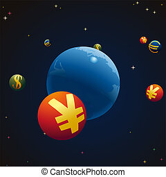 Stellar sky with Earth and symbols of Euro, Yuan and US...