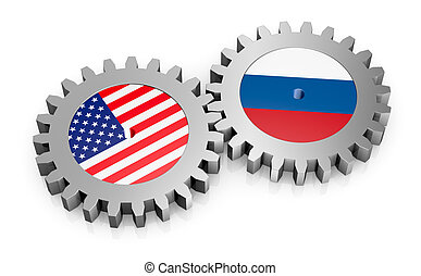 international relations - two gears with the flags of usa...