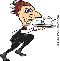 urgent waiter - serve the tea or co - in the restaurant -...