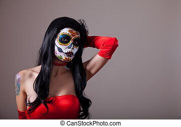 Sugar skull girl in red dress - Sugar skull girl in red...