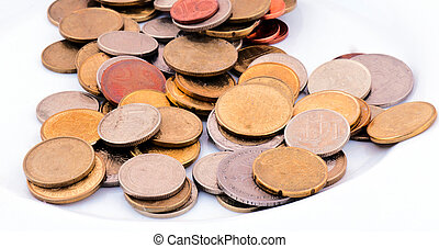Coins - Dirty Coins isolated on the white
