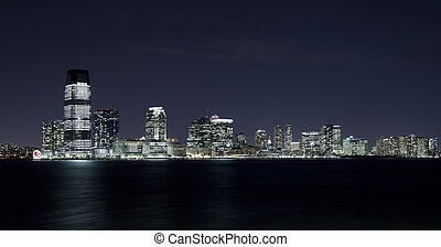 New Jersey in the night - New Jersey and river Hudson in the...