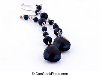 Earings - Black earings for the women, isoleted on the white