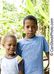dos, niños, sonriente, retrato, maíz, isla,...