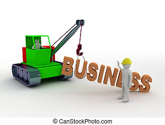 3d man working with crane constructing business