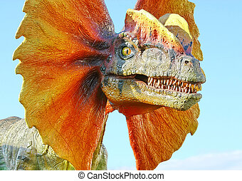 Dilophosaurus dinosaur with orange collar - Vantaa, FINLAND...