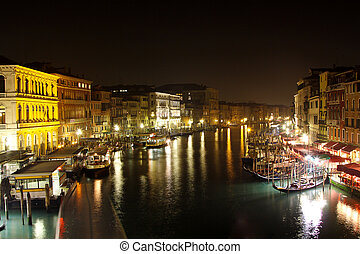 Grand Canal in Venice NIght - Beautiful water street - Grand...
