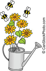 Watering can with flowers and bees - Image representing a...