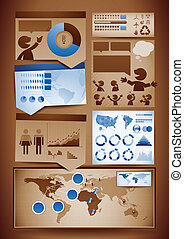 Infographics design elements - EPS10 - Vector set of brown...