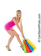 shopping woman - Full length woman with colorful shopping...