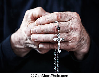 rosary - old man hands with classic rosary