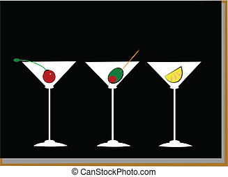 martini abstract - martinis over black with cherry,olive and...