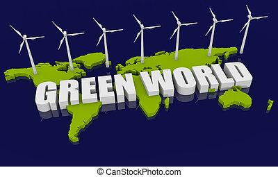 Renewable energy concept - Renewable energy image with wind...