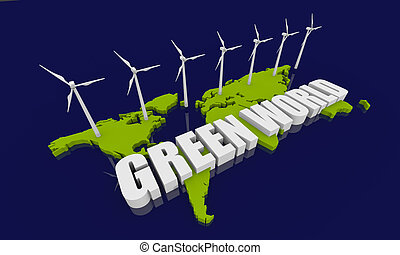 Renewable energy concept - Renewable energy image with wind...