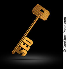 SEO gold key on black background - symbol for Searching...