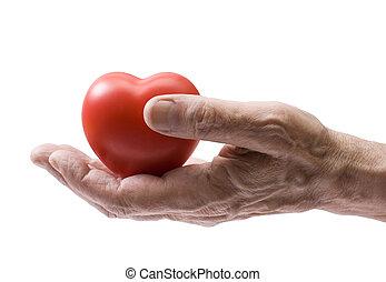 Coração, antigas, vermelho, mão
