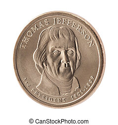 Thomas Jefferson Presidential Dollar coin with clipping path