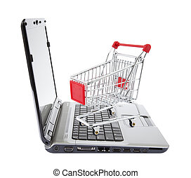 Online shopping. Shopping cart with laptop on white.