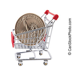 Shopping cart with One Dollar - Shopping cart with American...
