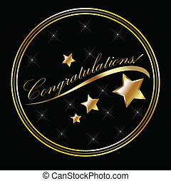 Congratulation lettering gold with stars
